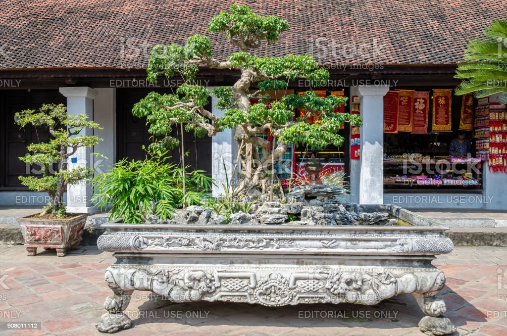 Bonsai plants in the Temple of Literature, it also known as Temple of...
