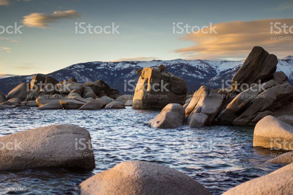 Bonsai Rock, Lake Tahoe in Winter stock photo