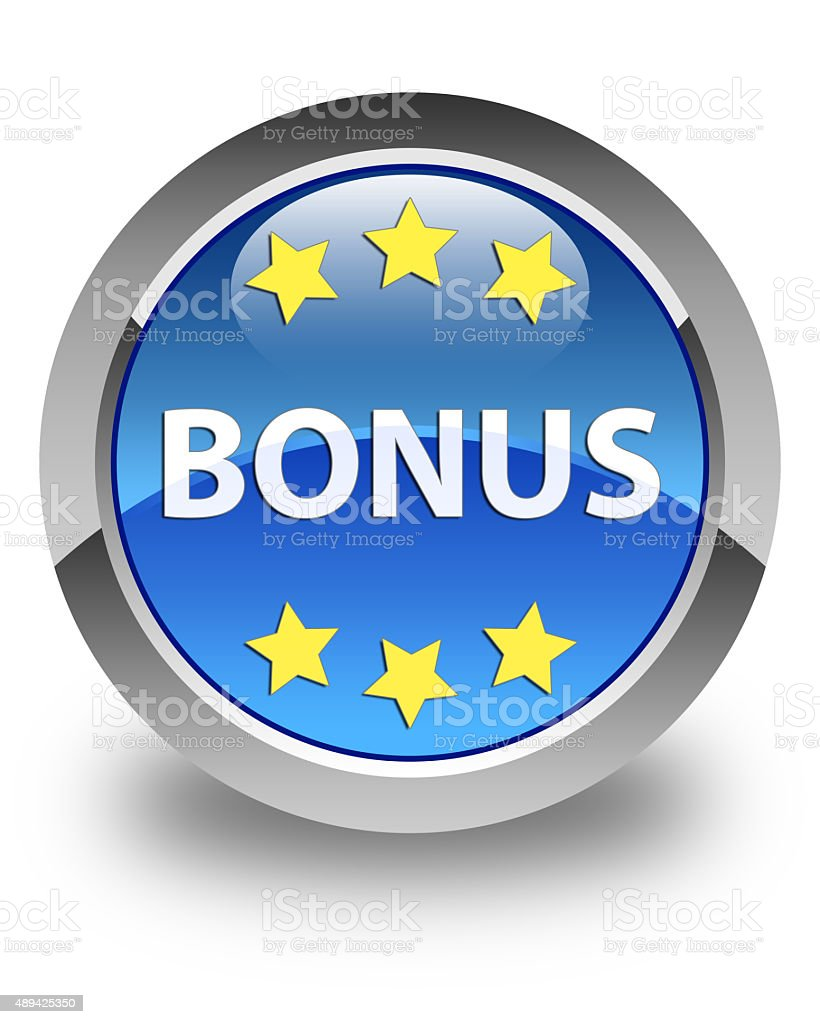 Bonus (stars icon) glossy blue round button stock photo