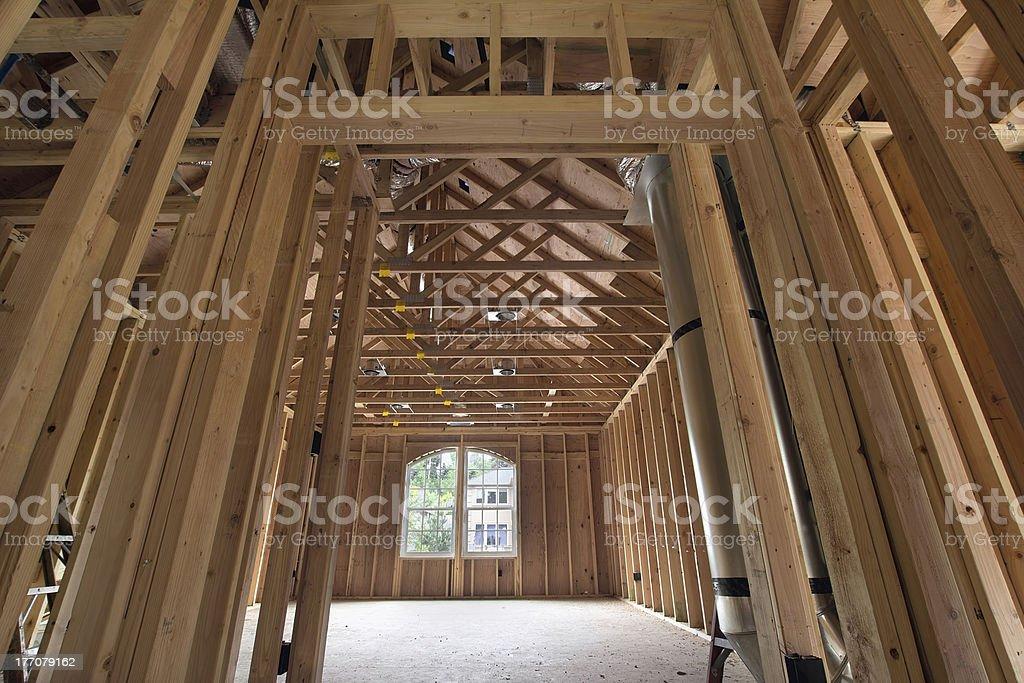 Bonus Room Wood Studs Framing stock photo