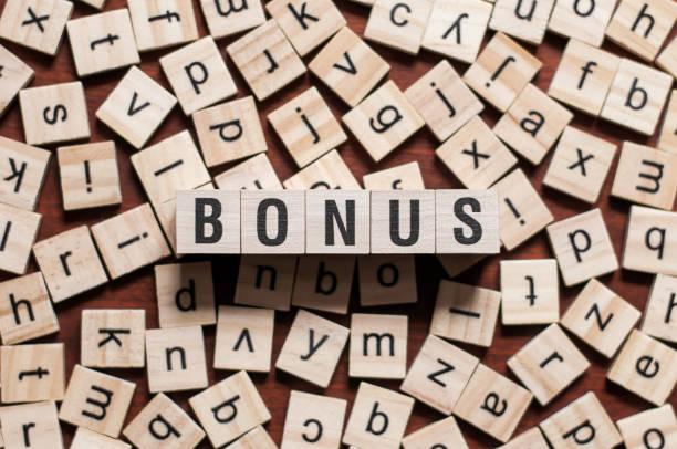 bonus word concept - bonus foto e immagini stock