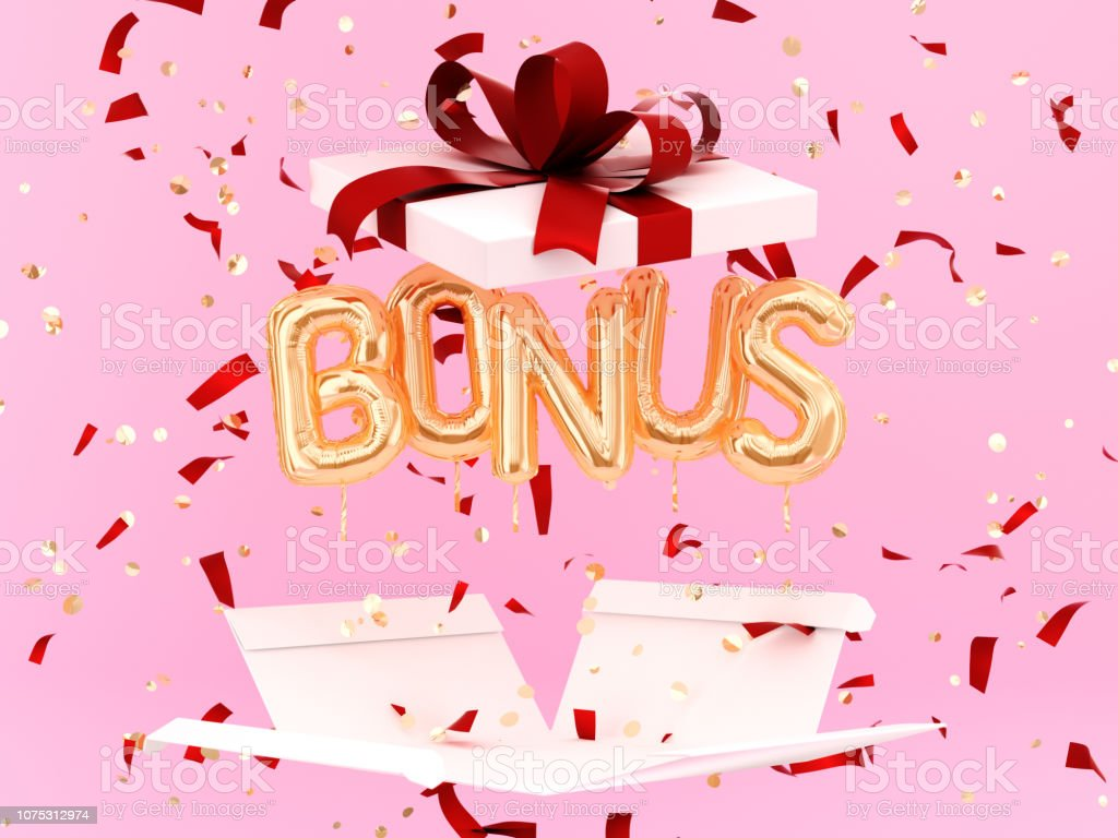 Bonus word letters and gift box, stock photo