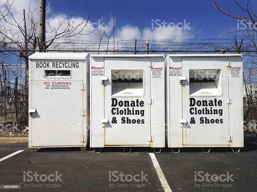 Book and clothing donation stock photo