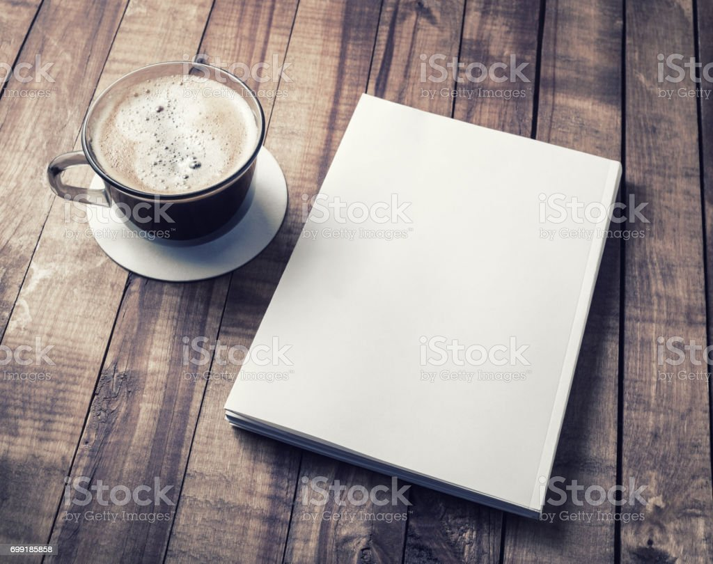 Book and coffee cup stock photo