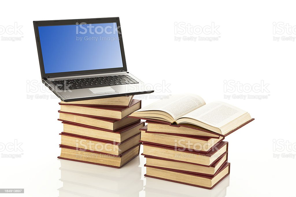 Book and Computer royalty-free stock photo