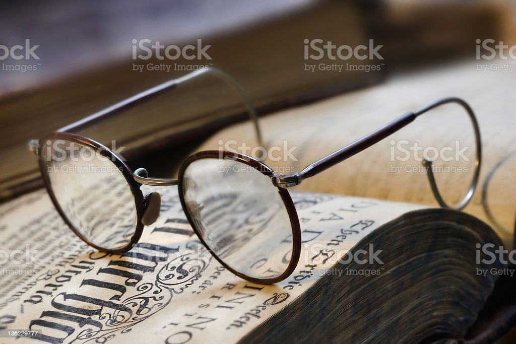 Book and eyeglasses royalty-free stock photo