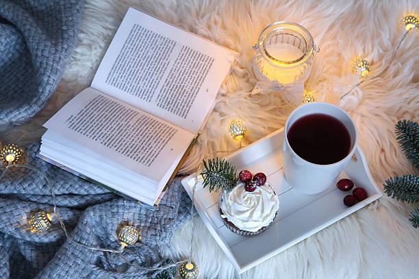 book and hot tea stock photo