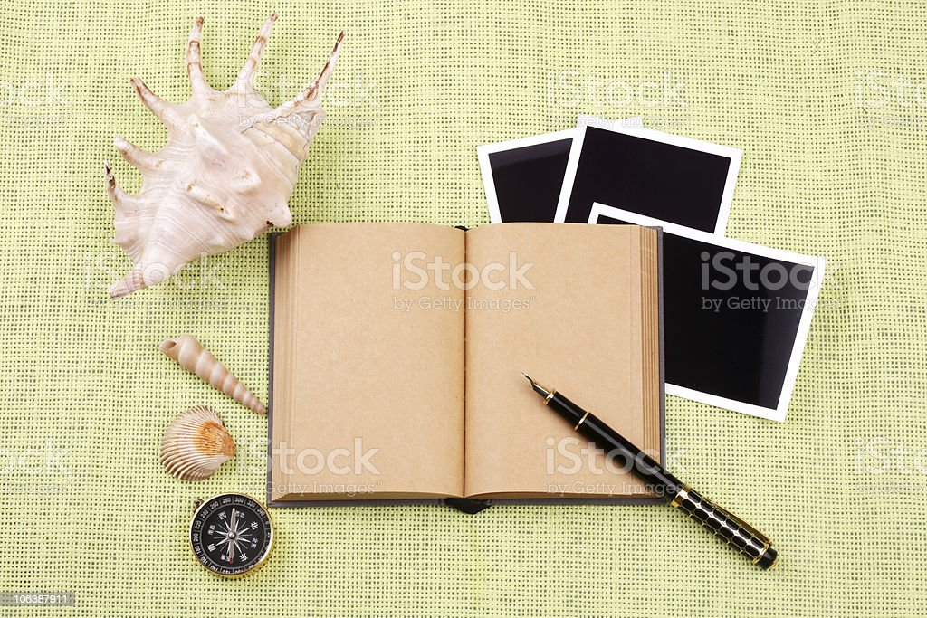 book and pen,photo,shell royalty-free stock photo