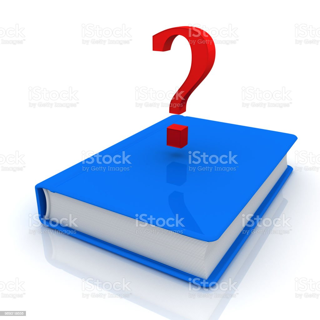 Book and question mark stock photo