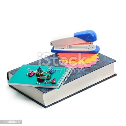 istock Book and stationery set isolated on a white background. 1048996172