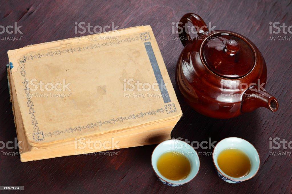 Book and tea stock photo