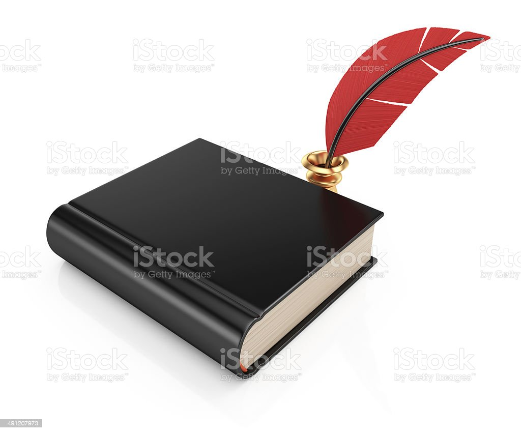 Book and writing quill royalty-free stock photo