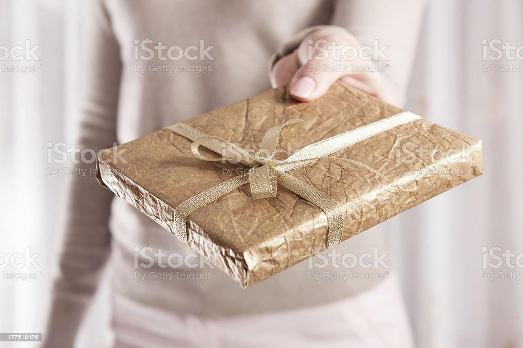 Book as Christmas present stock photo
