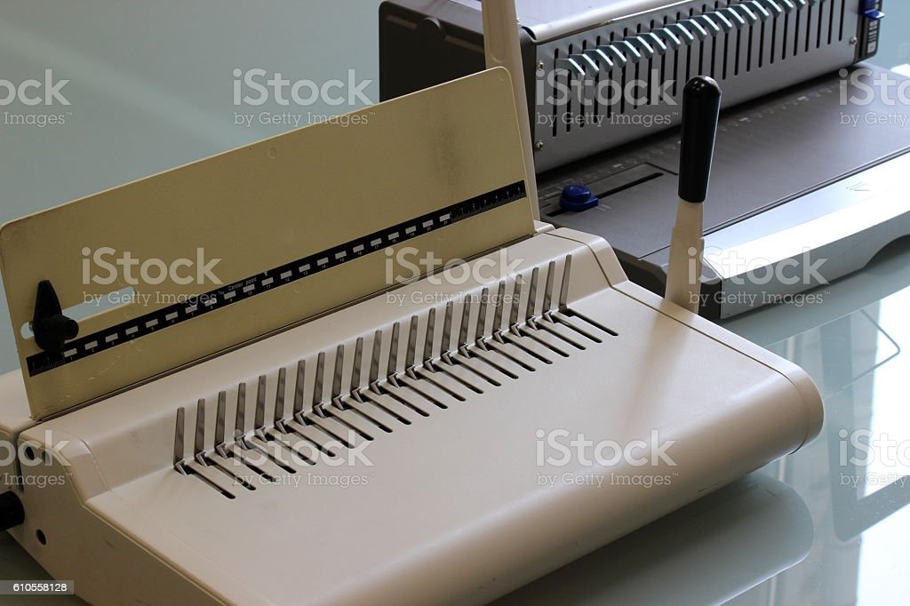 Book binding machine. Equipment for architectural project. Drawing. stock photo