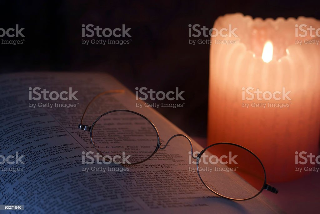 Book Candle & Glasses #1 royalty-free stock photo