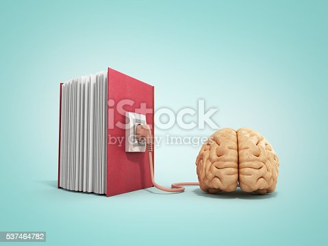 istock Book charging brain concept 3d illustration on gradient backgrow 537464782