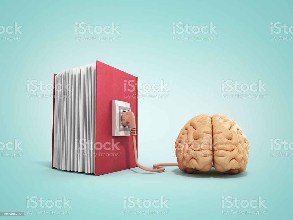 Book charging brain concept 3d illustration on gradient backgrow stock photo