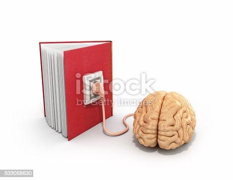 istock Book charging brain concept 3d illustration 533068630