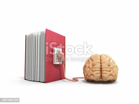 istock Book charging brain concept 3d illustration 537464704