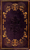 """""""The ornate cover of an old book, with gold gilt scrollwork.You can more images like this in my"""""""