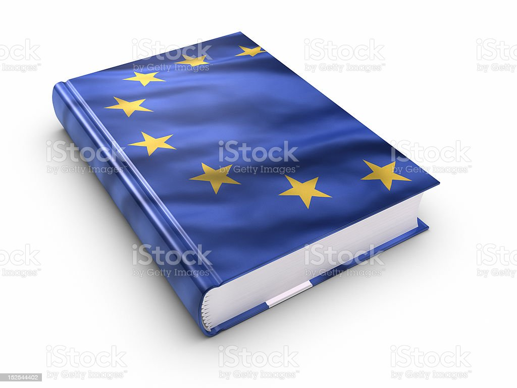 Book covered with European union flag. (isolated) royalty-free stock photo