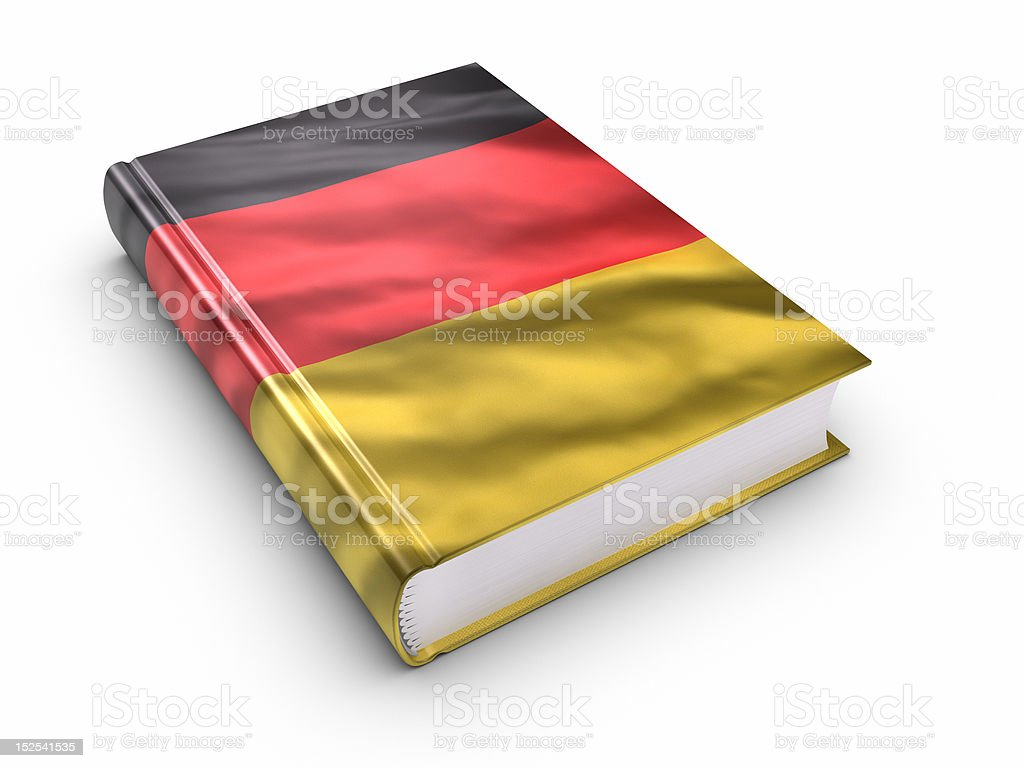 Book covered with German flag. (isolated) royalty-free stock photo
