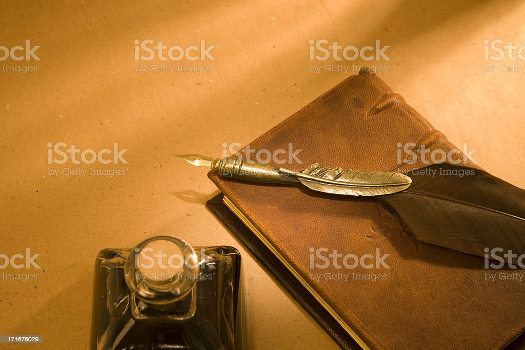 book, feather, ink XXL royalty-free stock photo