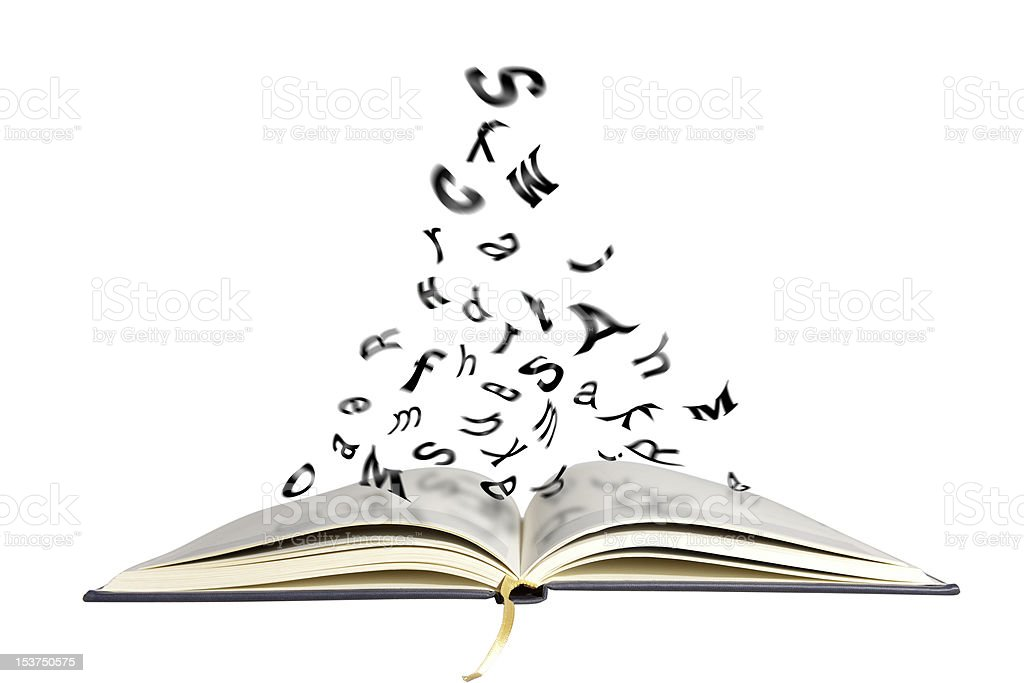 Book ,flying letters stock photo