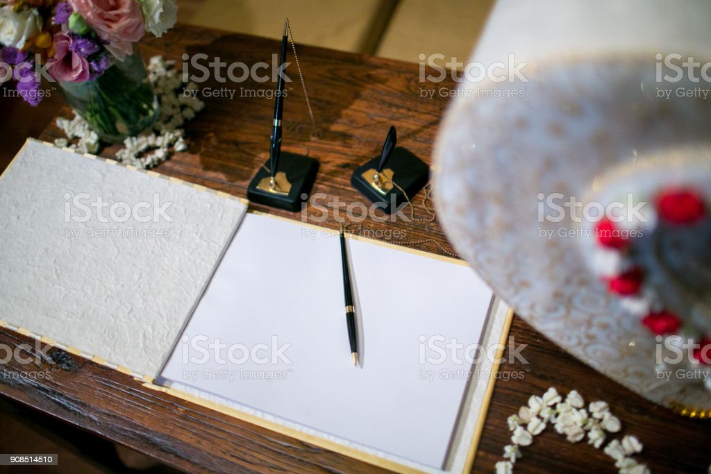book for the newlyweds congratulation stock photo