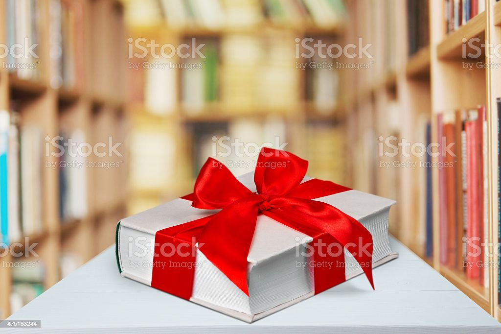 Book, gift, bow stock photo