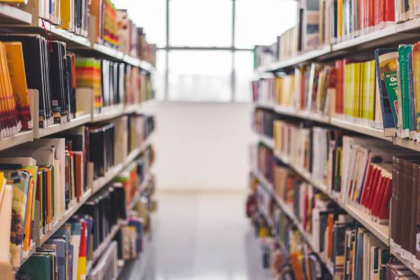 salón del libro en biblioteca - biblioteca fotografías e imágenes de stock