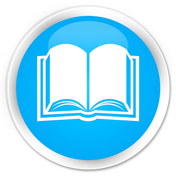 Book icon cyan blue glossy round button - foto stock