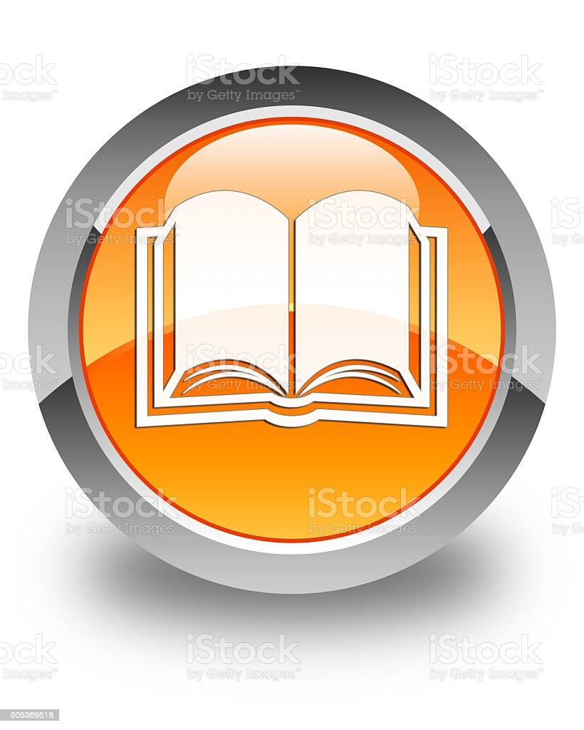 Prenota icona pulsante circolare lucida arancione - foto stock
