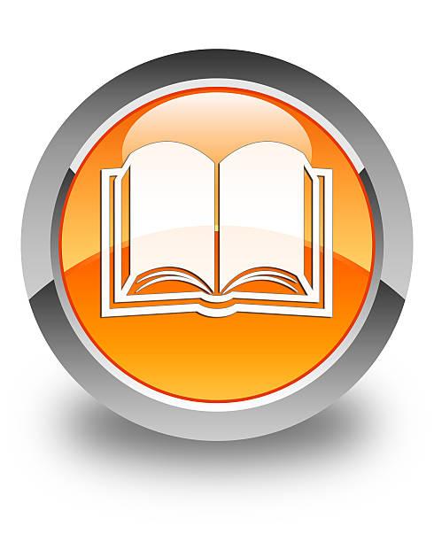 Książki ikony okrągły przycisk Błyszczący, pomarańczowe – zdjęcie