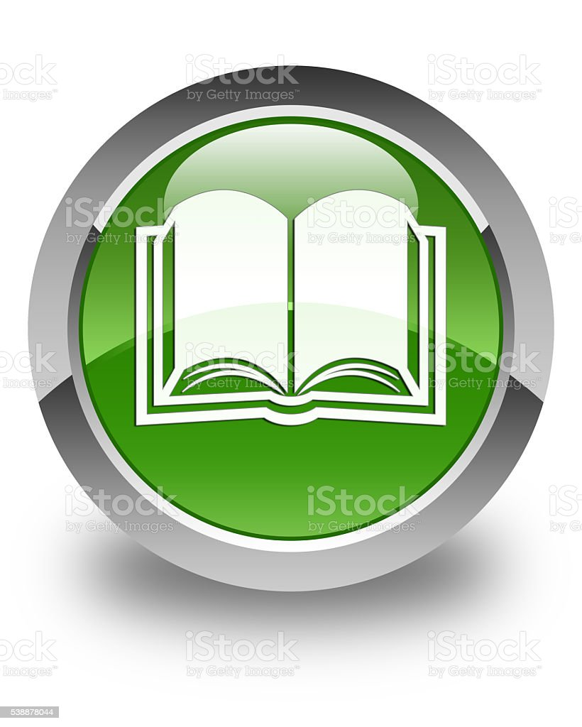 Book icon glossy soft green round button - foto stock