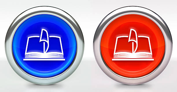 Book Icon on Button with Metallic Rim - foto stock