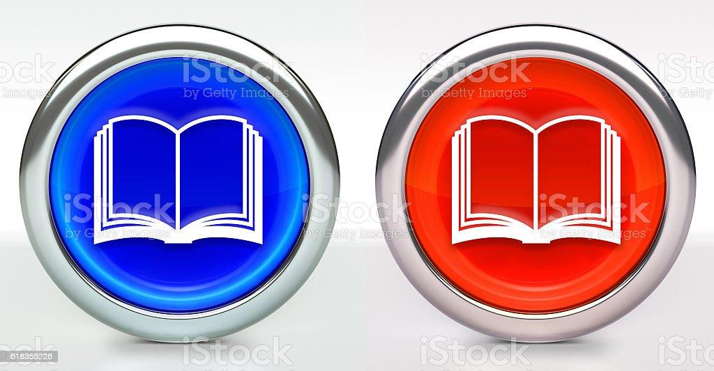 Book Icon on Button with Metallic Rim - foto stock