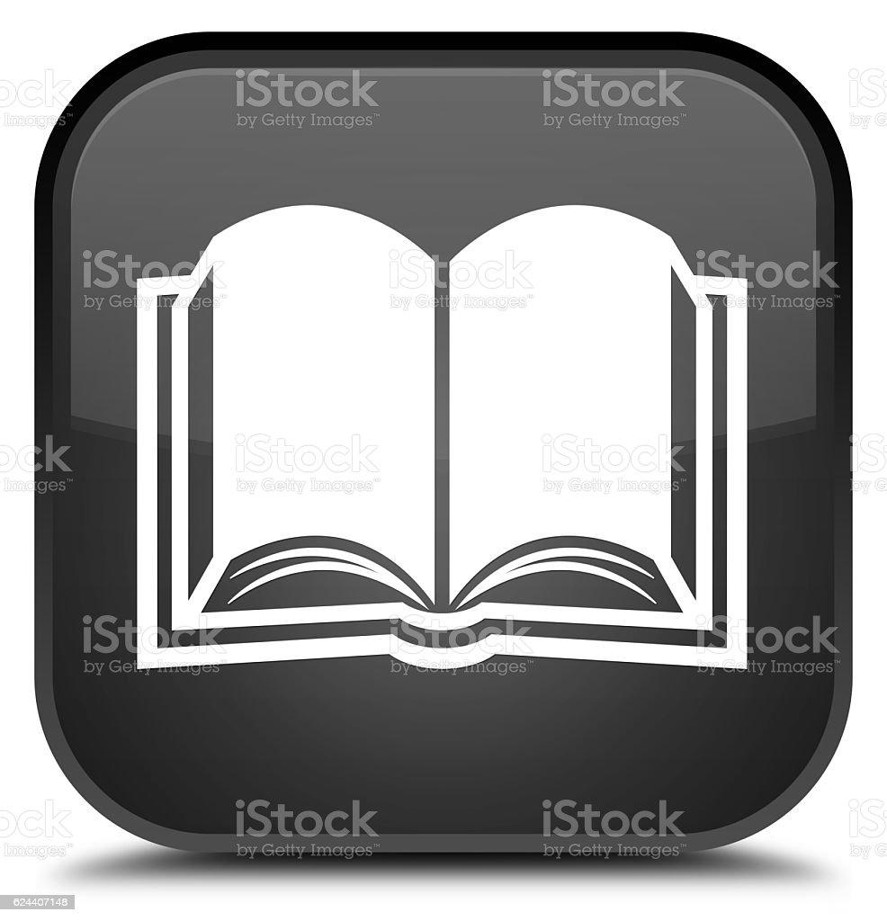 Book icon special black square button - foto stock