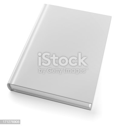 Empty book template on white background. 3d modeling and rendering. Included clipping path