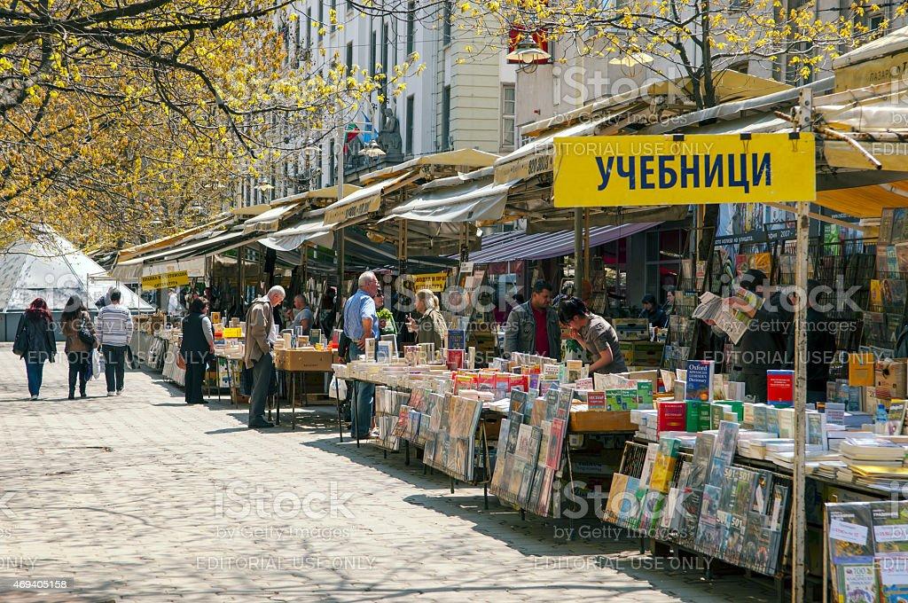 Book market in the center of Sofia, Bulgaria stock photo