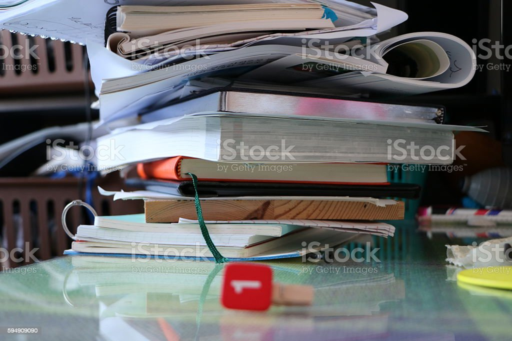 Book mess stock photo