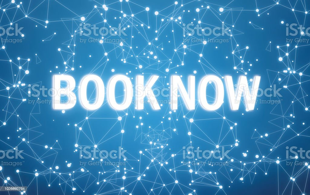 Book now interface on blue  network background stock photo
