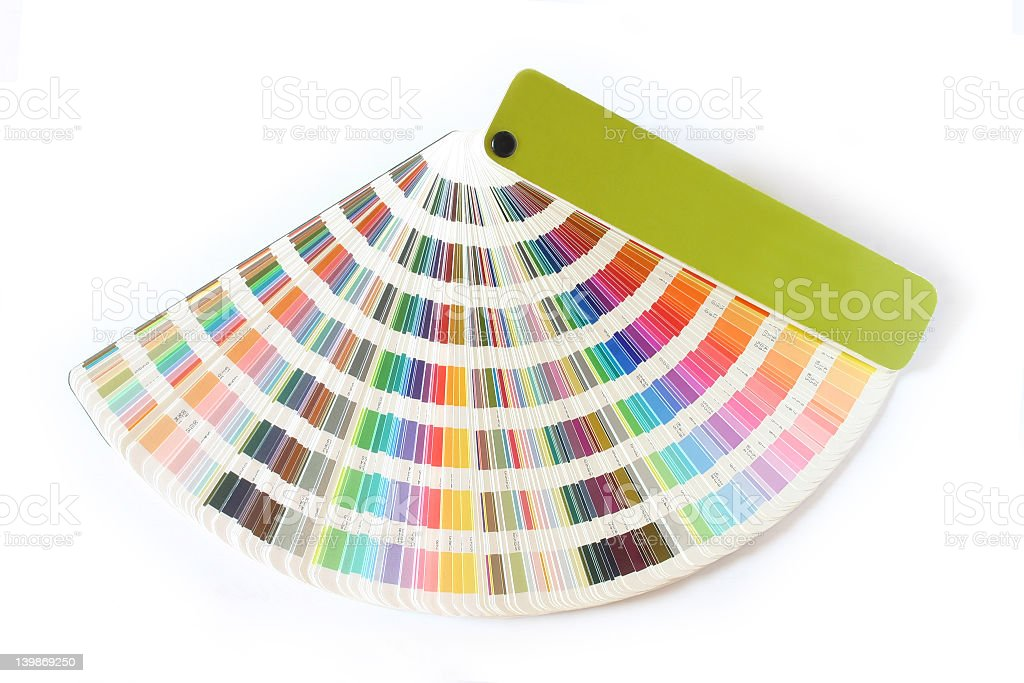 Book of color swatches fanned out stock photo