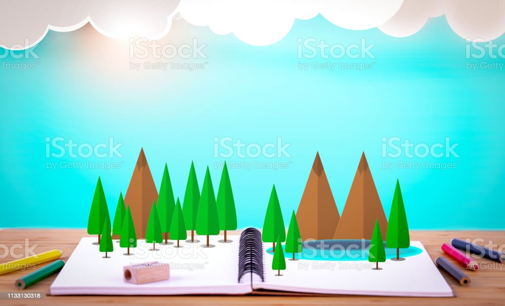 Book of Education and learning for fantasy stories and knowledge , Back to school learning concept stock photo