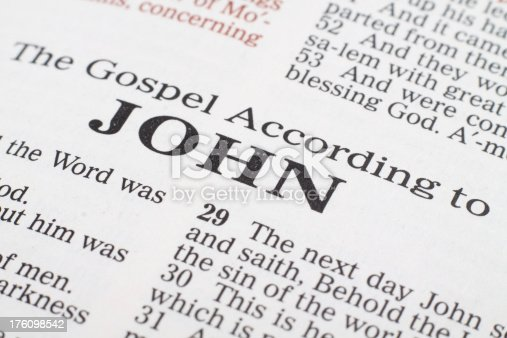 Macro focused on the title of the Gospel According to John