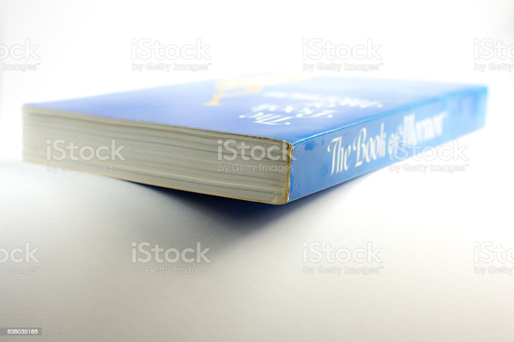 Book of Mormon on a white background with copy space stock photo