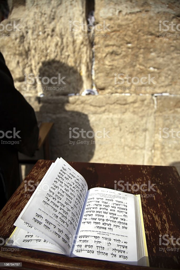 Book of Psalms at the Wailing Wall royalty-free stock photo
