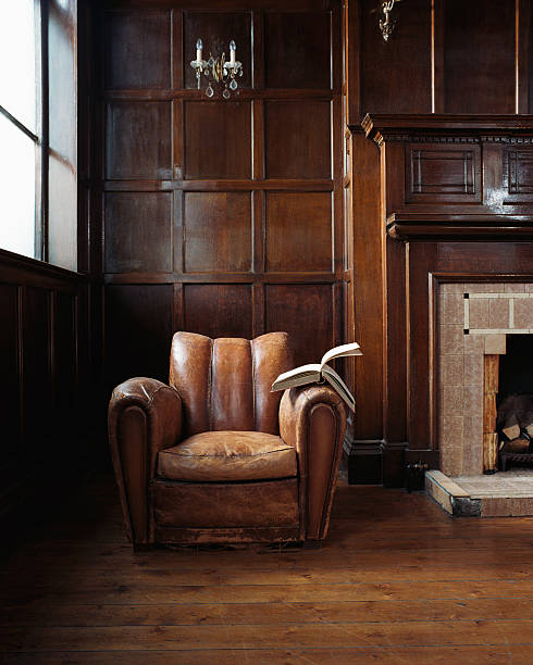 Book on a leather armchair  armchair stock pictures, royalty-free photos & images