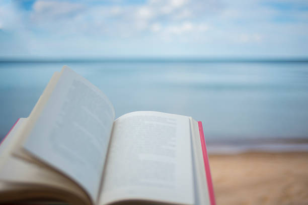 Book on Beach stock photo