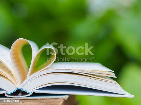 503130452istockphoto book on table in garden with top one opened and pages forming heart shape 664560908